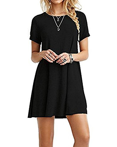 03789154eeaac Zero Jorla Women's Casual T-shirt Dress Short Sleeves Plus Size Loose Fit  Dresses Tank Plain Swing Dress. You can wear it at home or to work.