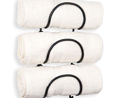 Wallniture Solid Wrought Iron Metal Towel Rack Holder