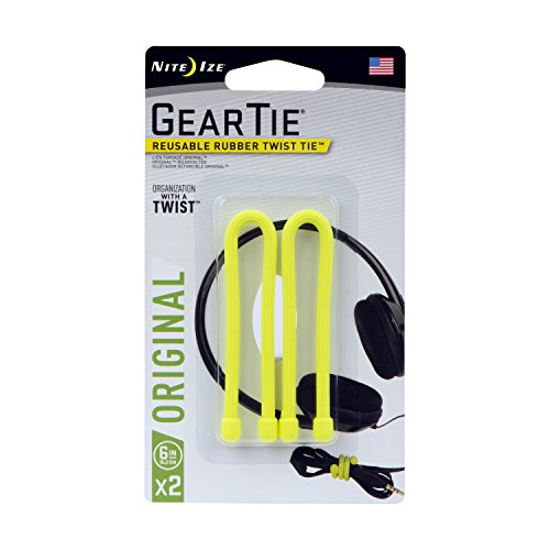 Nite Ize Gear Tie 12in 2pack Lime Green