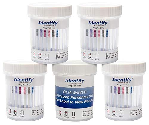 5 Pack Identify Diagnostics 10 Panel Drug Test Cup Testing